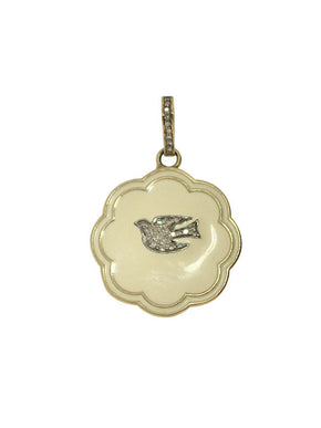 Diamond Bird and Bale in Cream Enamel