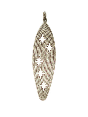 Pave Diamond Surfboard with Cutout Stars