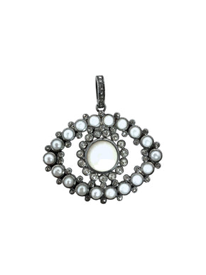 Pearl and Diamond Protective Evil Eye in Sterling Silver