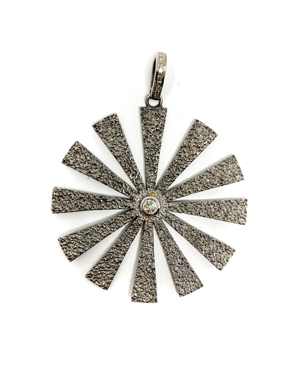 Large Textured Sterling Sunflower with Center Diamond
