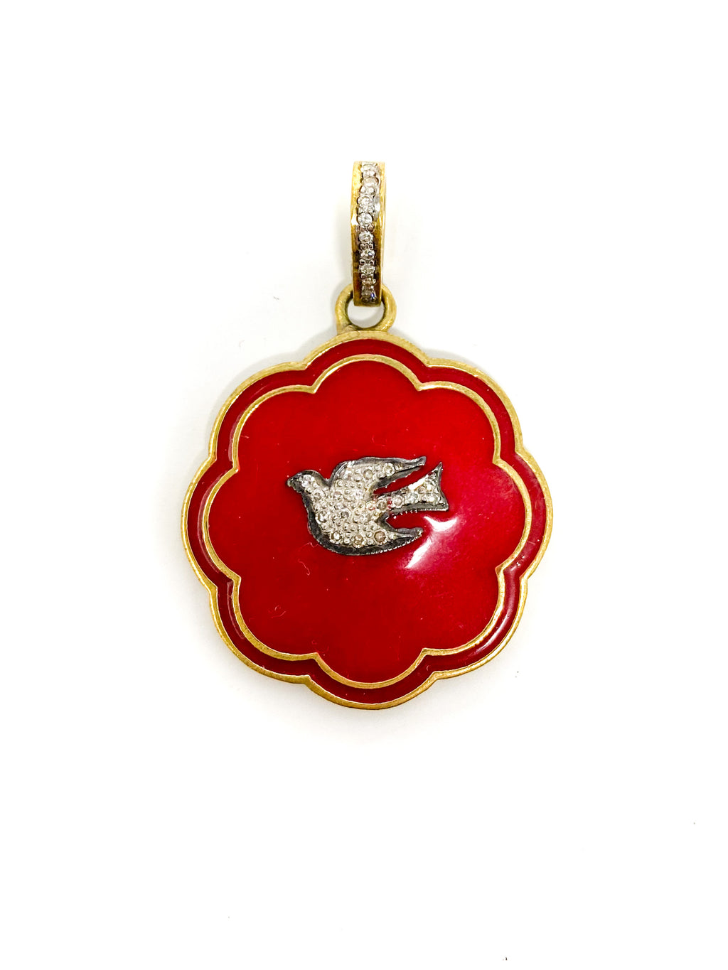 Diamond Bird and Bale in Red Enamel