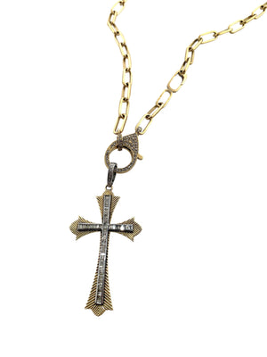 Diamond Baguette Cross surrounded by Etched Brass