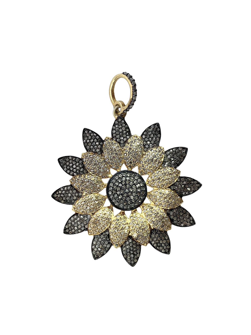 Pave Diamond Flower in Brass and Sterling Silver