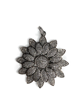 Pave Diamond Flower in Sterling Silver