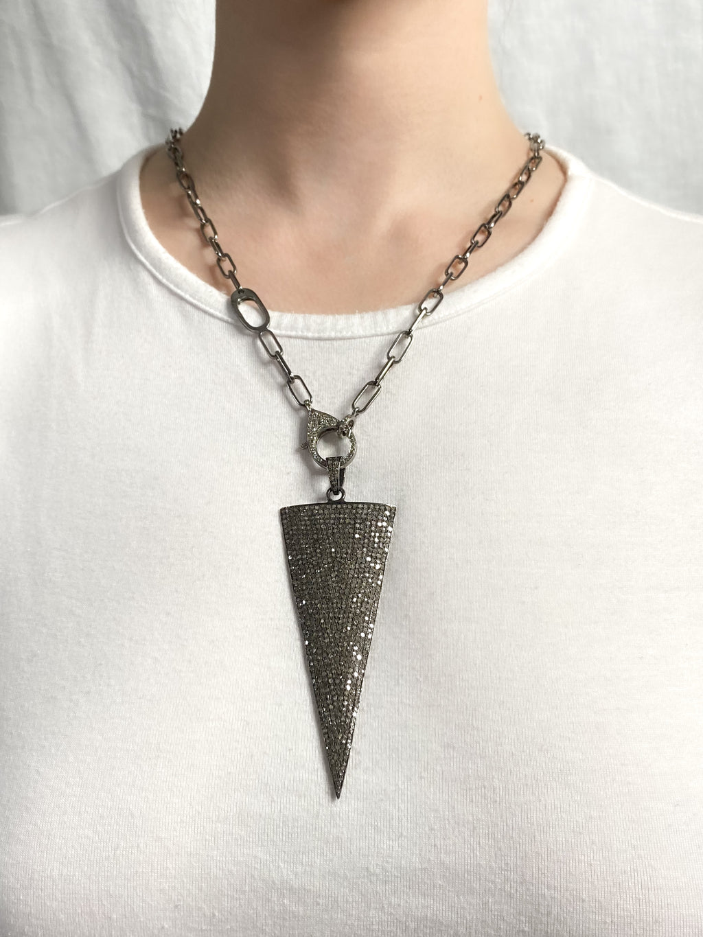 Pave Diamond Large Sterling Spear