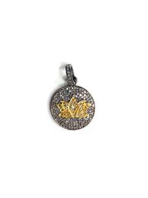 Pave Diamonds in Brass and Sterling Silver Lotus Flower