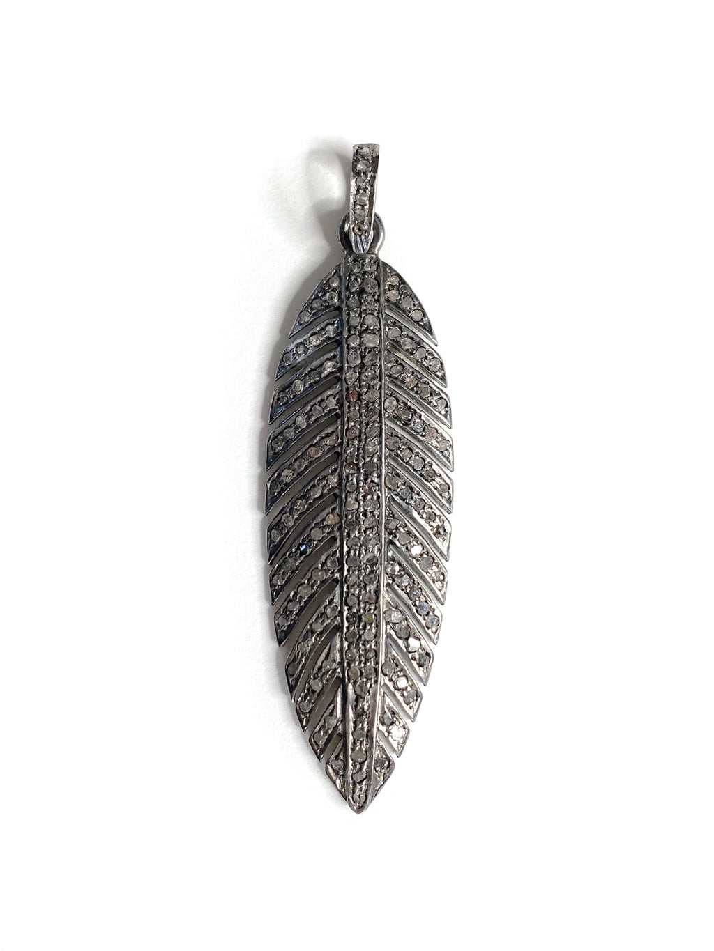 Pave Diamond Feather in Sterling