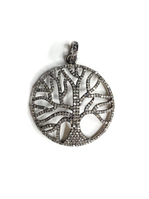 Pave Diamond Tree of Life in Sterling Silver