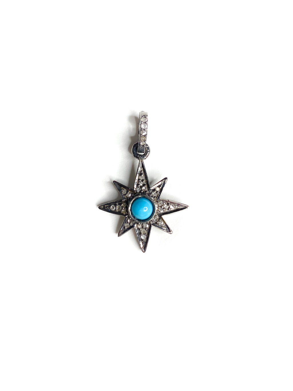 Turquoise set in Pave Diamond mini Starburst