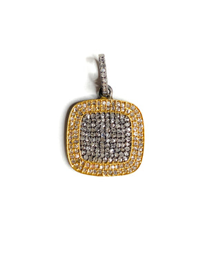 Pave Diamond Square in Brass and Sterling Silver