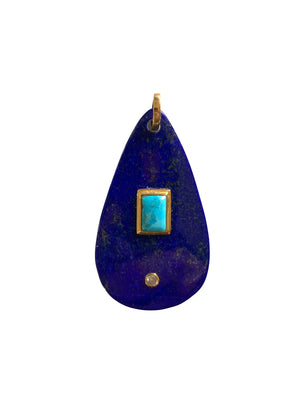 Lapis Teardrop with a Turquoise and Diamond set in Gold