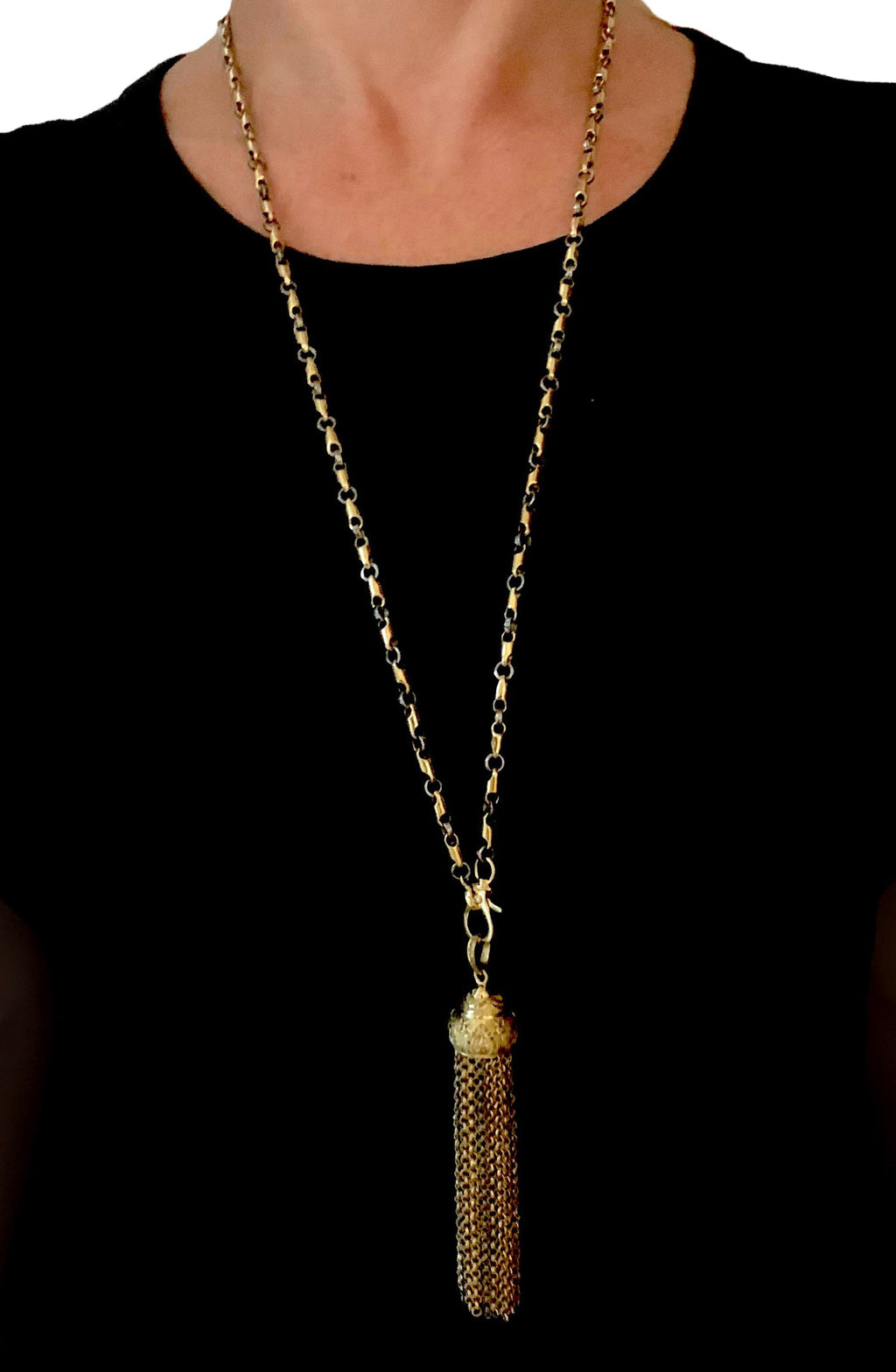 Pave Diamonds set in Brass with Brass and Sterling Silver Tassel