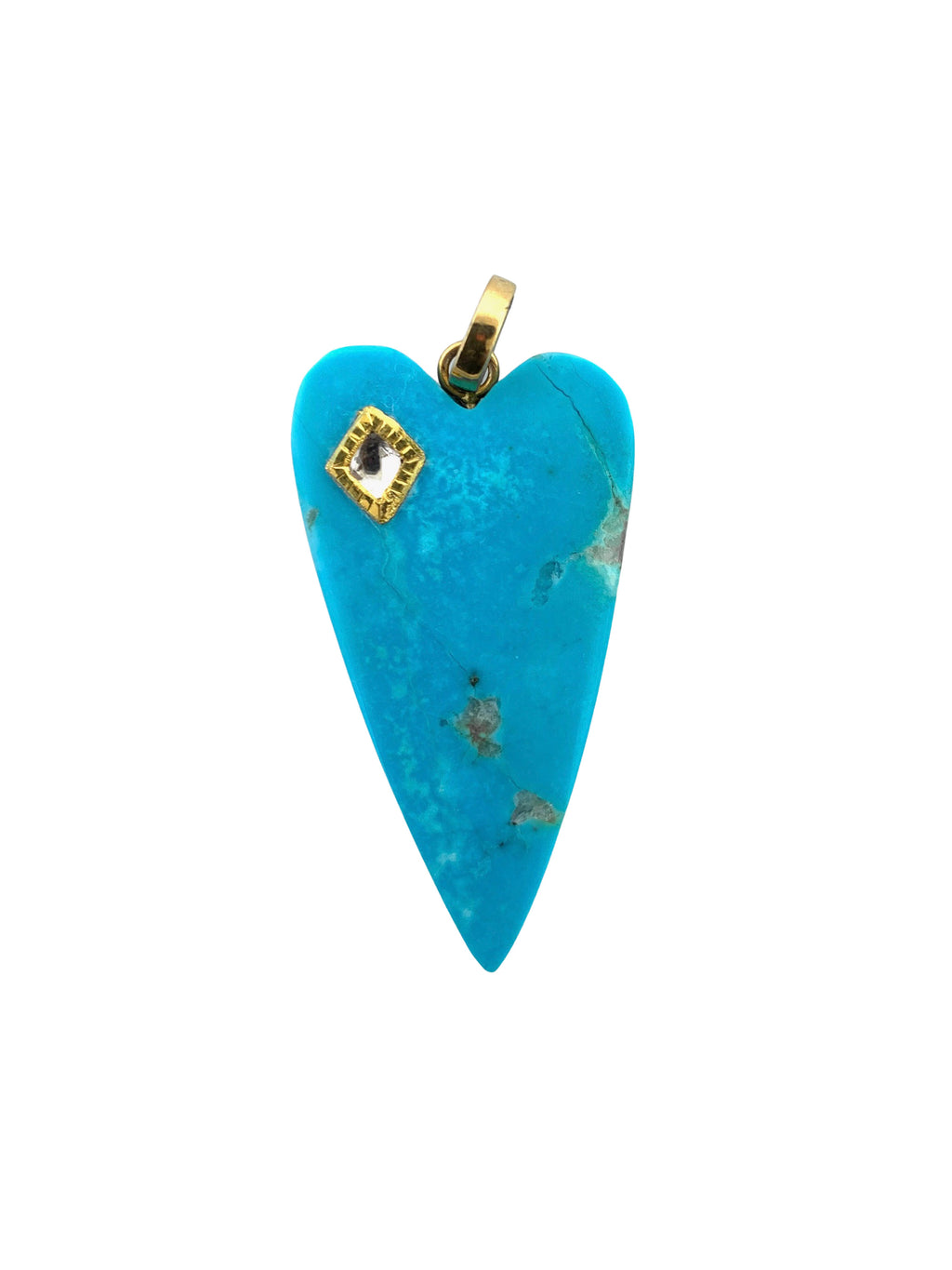 Turquoise Heart with Diamond set in Gold