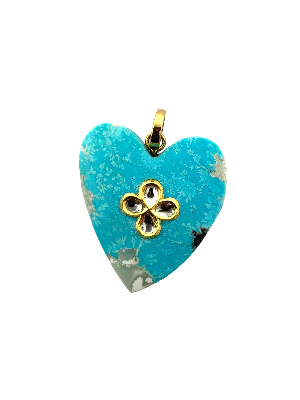 Turquoise Heart with  Four Diamonds set in Gold