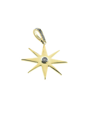 Brass Starburst with Center Diamond and Pave Bale