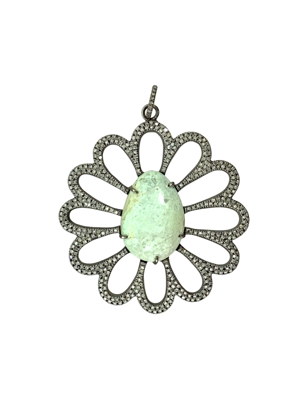Pave Diamond Petals on Amazonite Flower