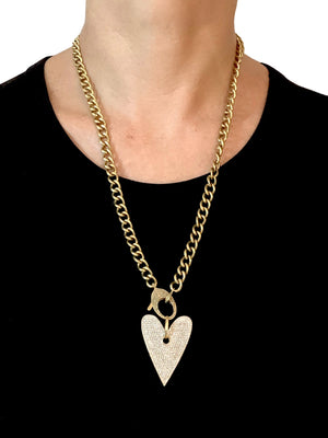 Pave Diamond Heart in Brass