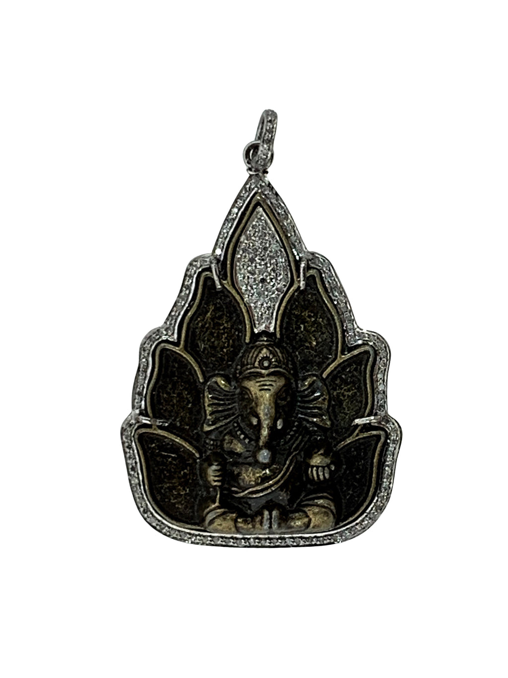 Pave Diamonds around Bronze Ganesh