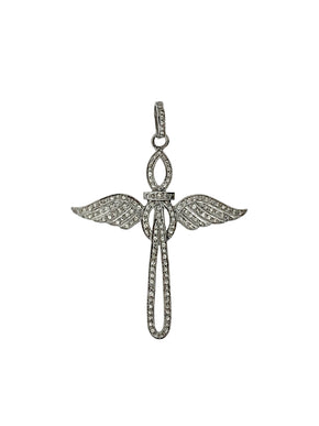 Pave Diamond Cross with Angel Wings