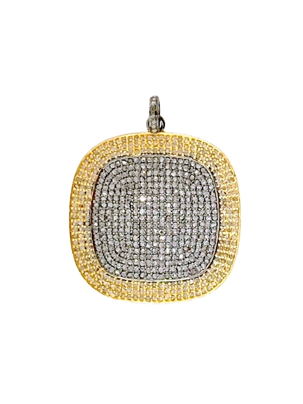 Large Pave Diamond Square in Sterling Silver and Brass