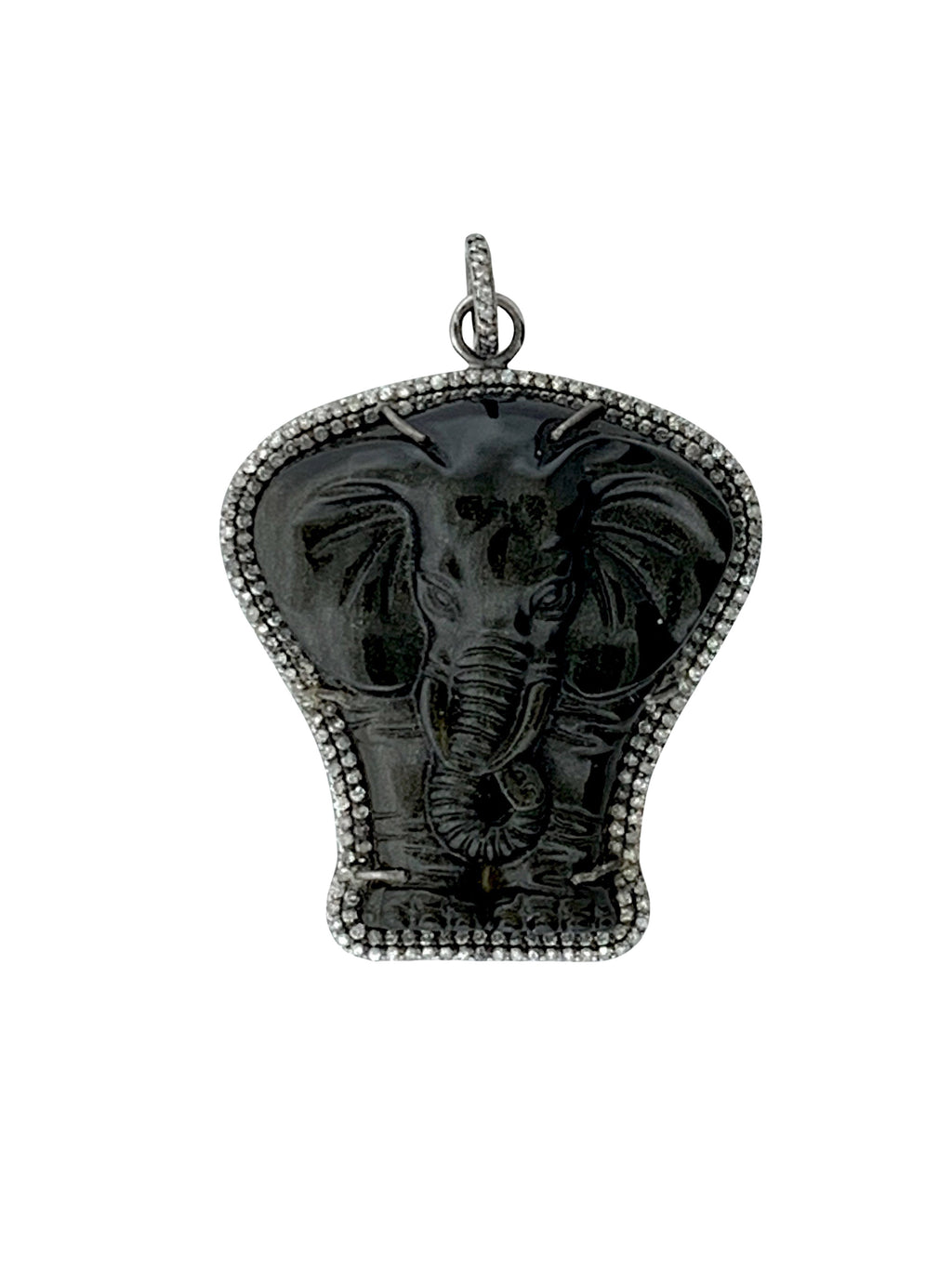Diamonds Surrounding Carved Obsidian Elephant