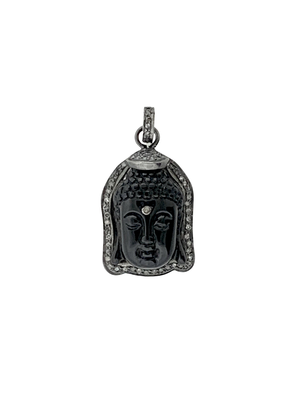 Pave Diamonds Surrounding Onyx Buddha Head with Diamond Third Eye