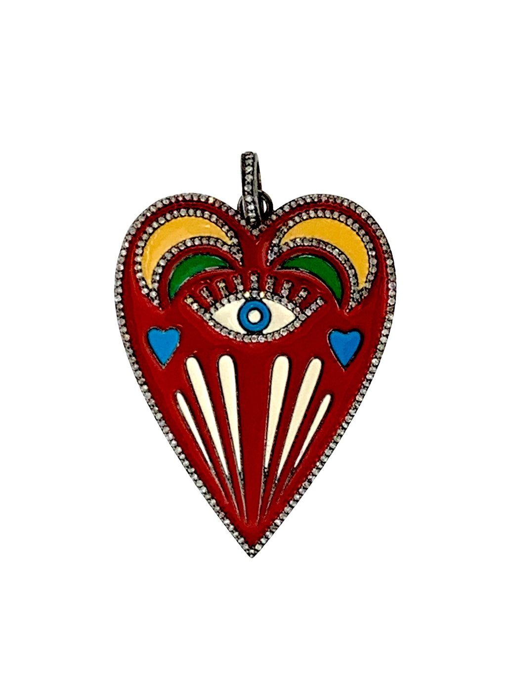 Multi Colored Enamel Heart with Pave Diamonds