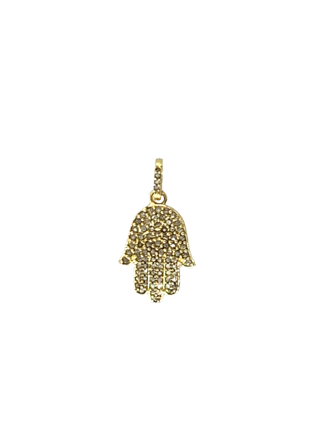 Pave Diamond Hamsa in Brass
