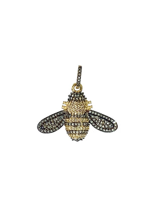 Pave Diamond Bee in Sterling Silver and Brass