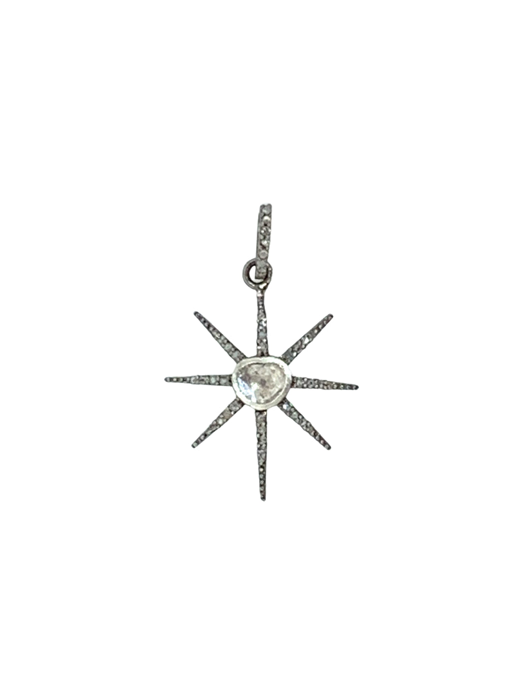 Diamond Center Starburst in Sterling Silver