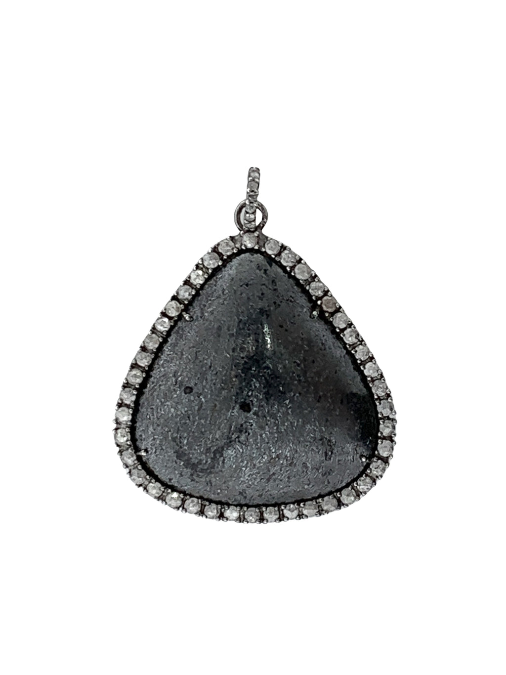 Diamonds Surrounding Hematite set in Sterling Silver
