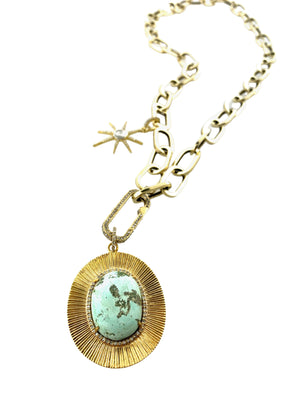 Micro Pave Diamonds Surrounding Larimar Set in Etched Brass