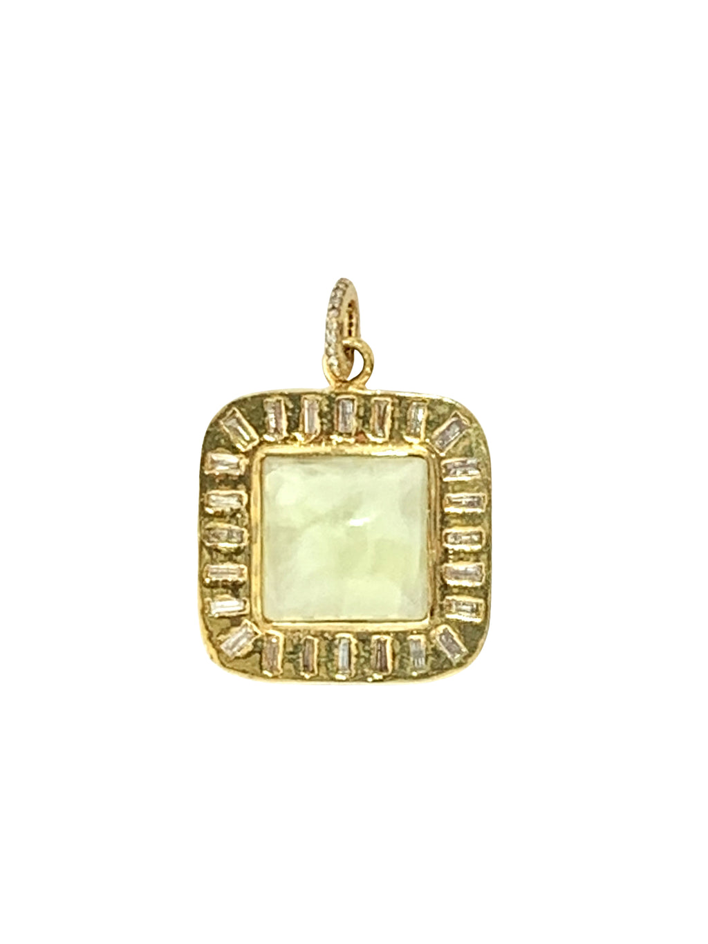 Diamond Baguettes Set in Brass Around Prehnite