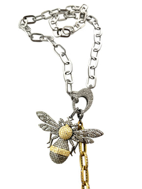 Pave Diamond Large Bee In Sterling Silver and Brass