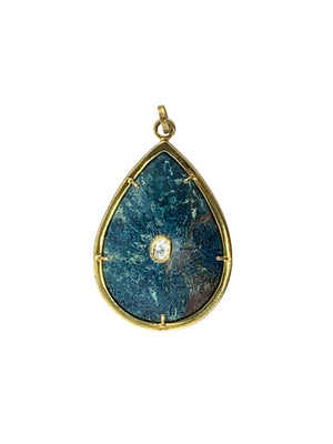Apatite set in Brass with Single Diamond