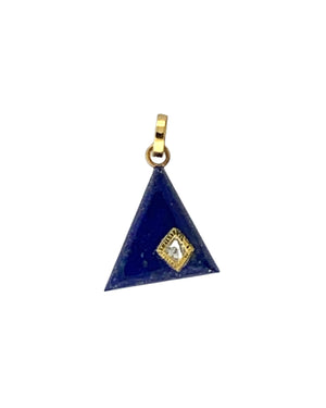 Diamond set in Gold on Lapis Triangle