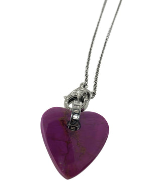 Diamond Baguette Sterling Silver Bale on Purple  Turquoise Heart