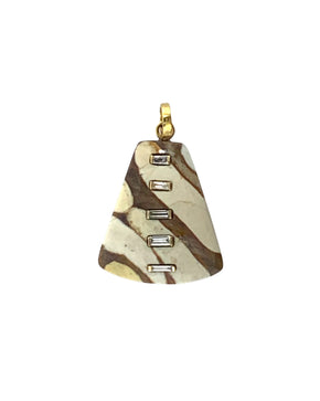 Diamond Baguettes set in Gold on an Aventurine Triangle