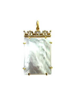 Canted Diamond Baguettes in Brass over Mother of Pearl