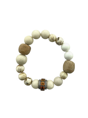 Yellow Sapphire and Diamond Bead on Shell, Coral, and African Beads