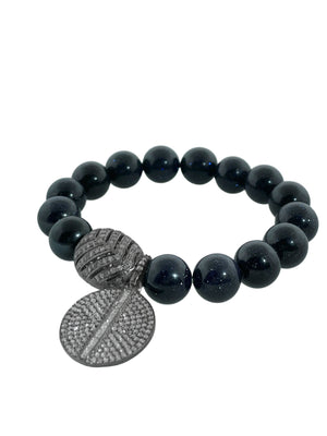 Pave Diamond Bead and Charm with Baguettes on Blue Goldstone