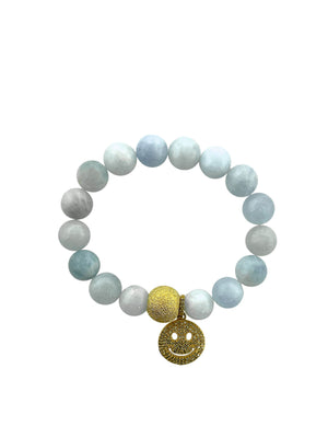 Brass Bead and Pave Diamond Happy Face on Aquamarine