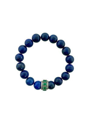 Emerald and Diamond Bead on Lapis