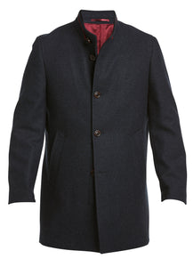 New Wool Stand Up Collar Coat Navy