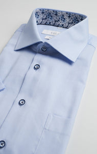 Light Blue Dobby Shirt With Colored Buttons