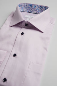Pink Dobby Shirt With Dark Buttons Short Sleeve
