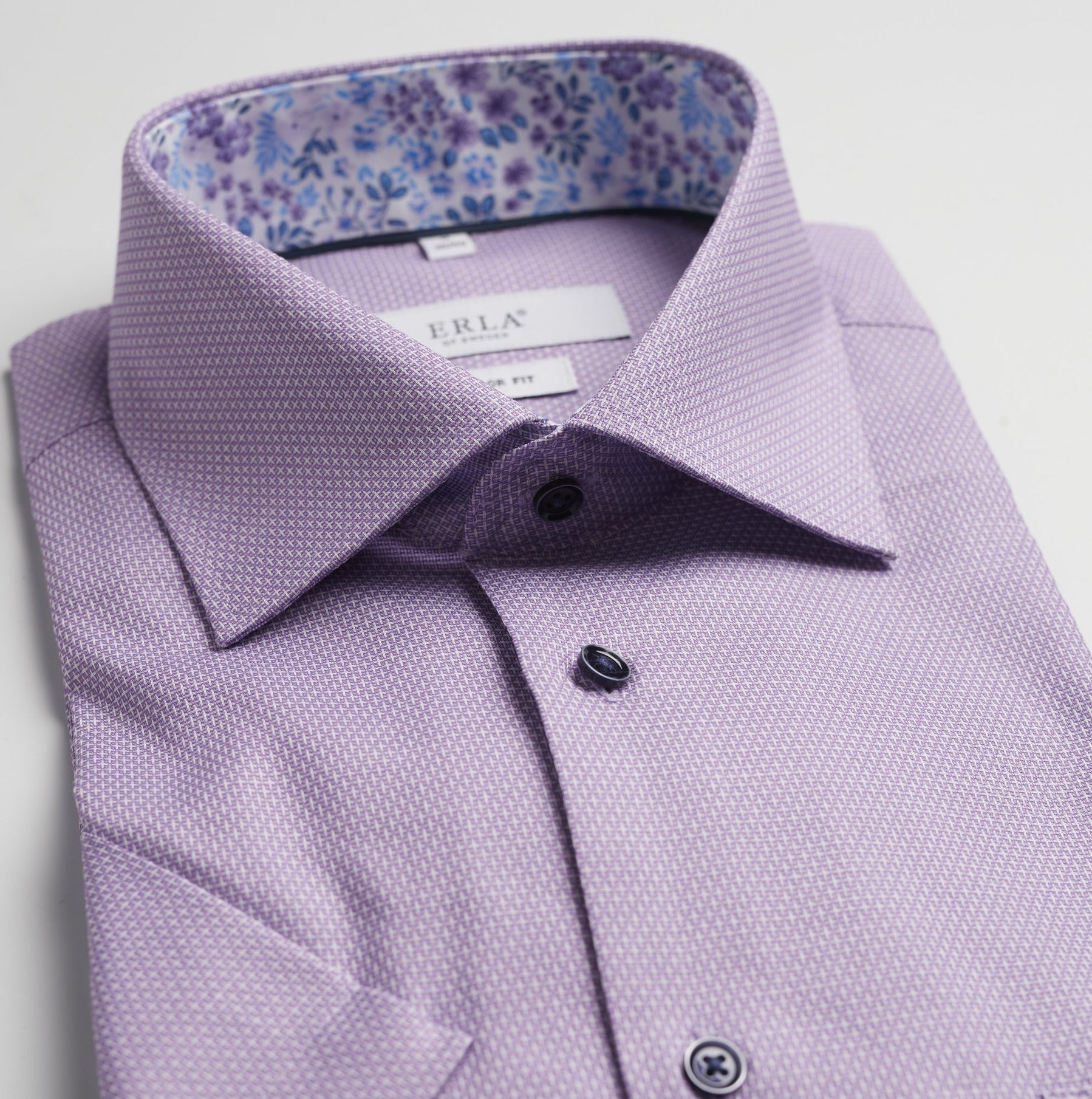 Purple Dobby Shirt With Dark Buttons