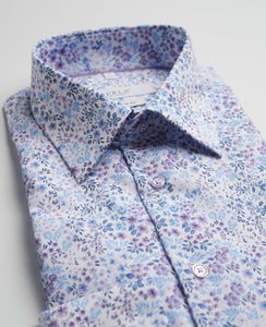 Purple Shirt With Flowers Short Sleeve