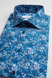 Blue Flowerprinted Shirt Short Sleeve