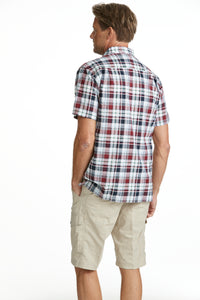 Seersucker Shirt Dark Red Check